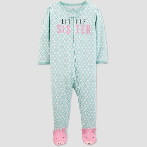 """Baby Girls' """"Little Sister"""" Sleep 'N Play One Piece Pajama - Just One You® made by carter's Green/White - image 1 of 1"""
