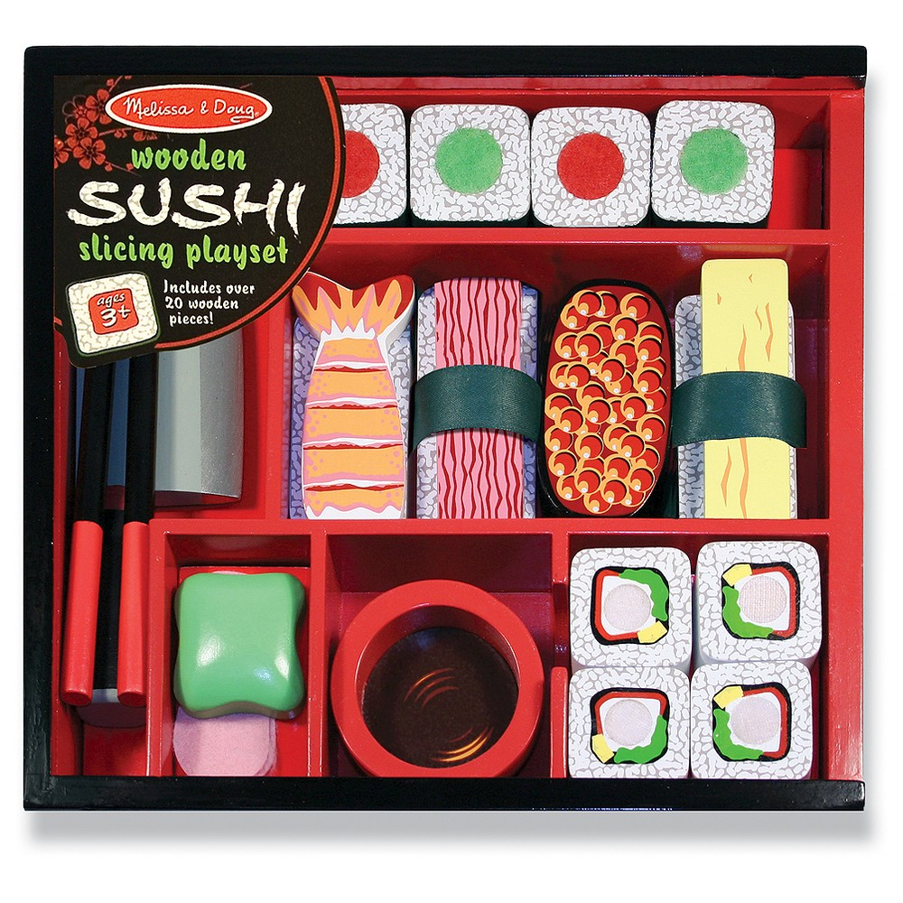 Melissa & Doug Sushi Slicing Wooden Play Food Set Your kiddo will have a blast running their own sushi restaurant with this Melissa and Doug Sushi Slicing Wooden Play Food Set. Your child will love assembling sushi rolls and chopping them up — the toy cleaver even makes a realistic chopping sound! The set also includes toy chopsticks for serving and eating, as well as a little bowl of soy sauce and a dollop of wasabi. Best of all, everything neatly fits back into the storage box when playtime is over. Gender: Unisex.