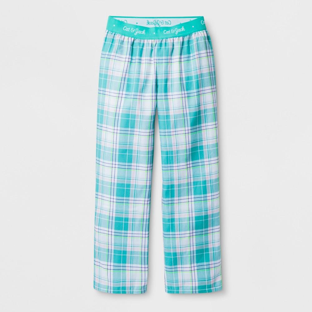 Girls' Woven Plaid Pajama Pants - Cat & Jack Turquoise XL, Green