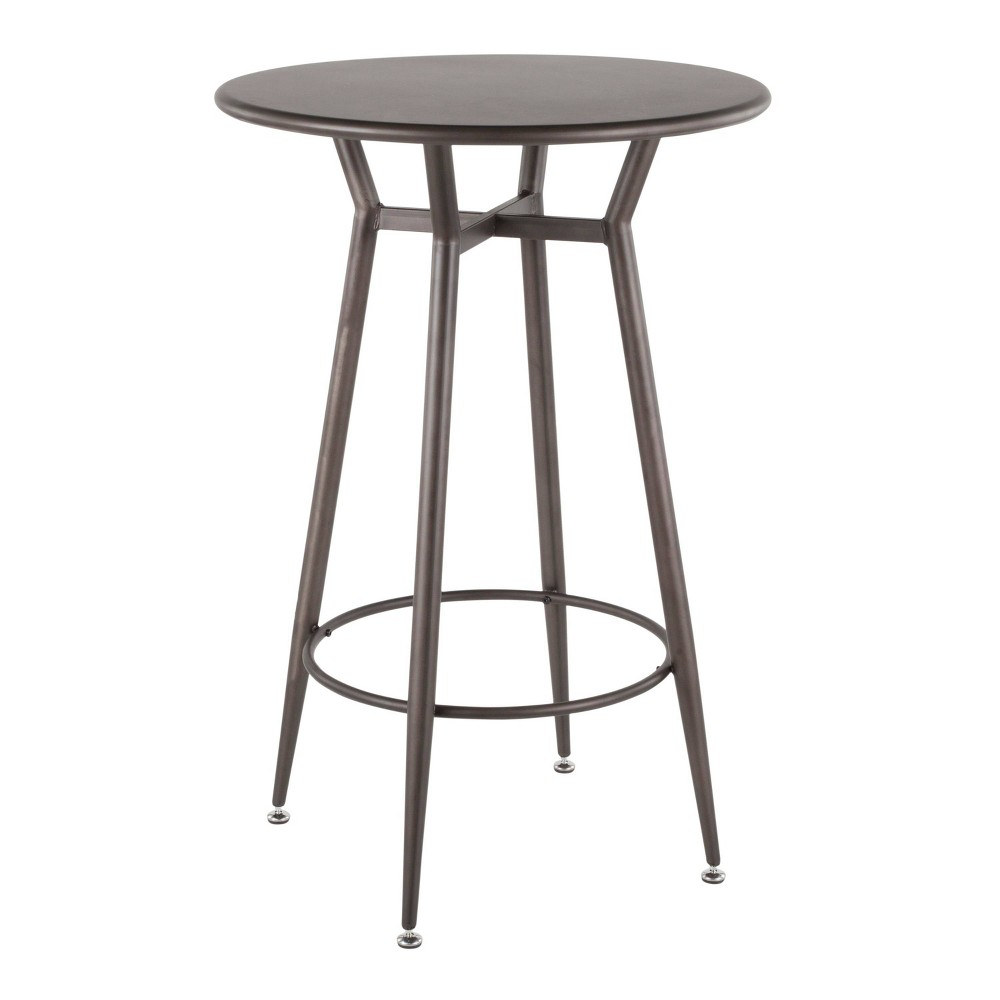 Clara Industrial Round Bar Table Antique Wood - LumiSource