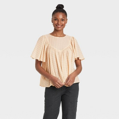 Women's Striped Flutter Short Sleeve Blouse - Universal Thread™
