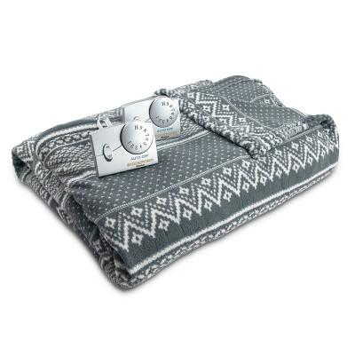 Microplush Electric Blanket (Twin)Gray & White Fair Isle - Biddeford Blankets