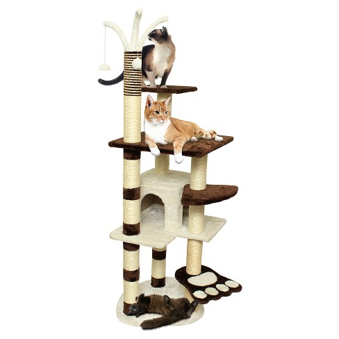 "Paws & Pals Cat Scratch Tree Condo Furniture 64"" -<br> Brown and White - image 1 of 3"