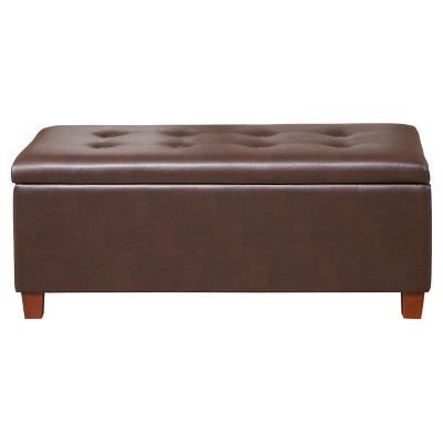 Large Faux Leather Storage Bench Chocolate Brown - HomePop