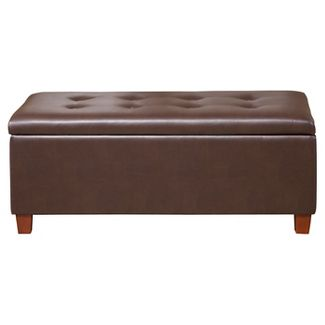 Homepop Large Faux Leather Storage Bench - Chocolate Brown