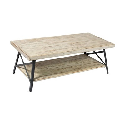 Wallace & Bay Chandler 48 Inch Long Rustic Decor Indoor Home Open Storage Coffee/Cocktail Table, Whitewash
