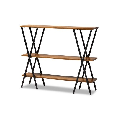 Norton Rustic and Industrial Wood and Black Metal Console Table Walnut Brown - Baxton Studio