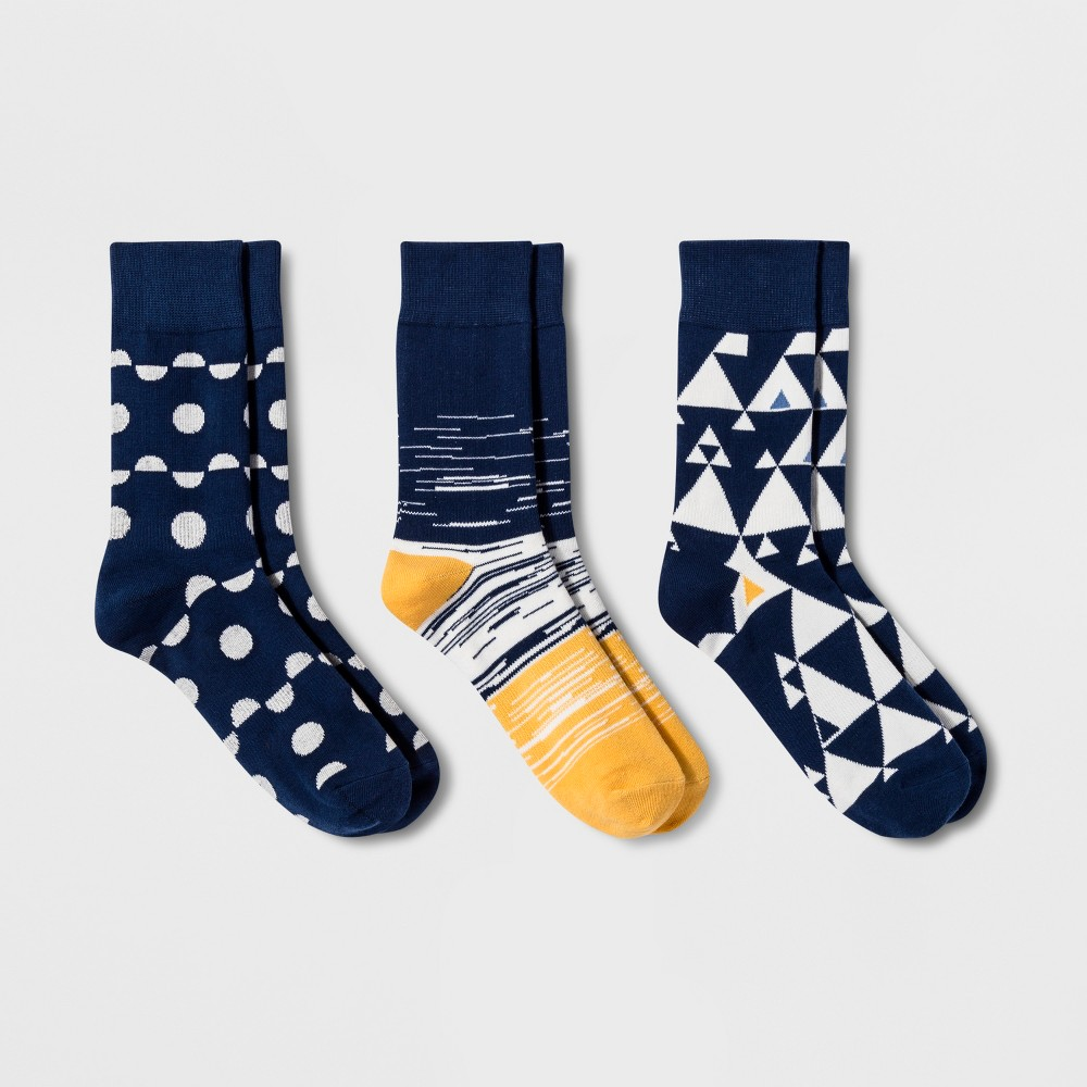 Image of Pair of Thieves Men's Crew Socks 3pk - Navy 8-12, Size: Small, White Yellow Blue