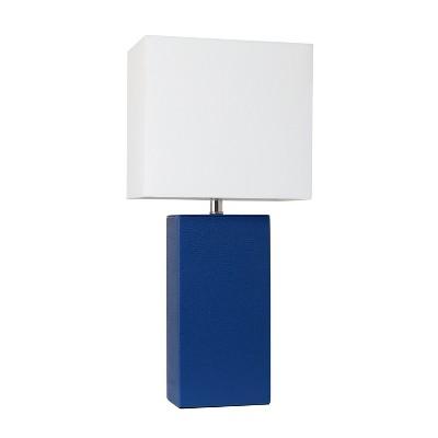 "21"" Monaco Avenue Modern Leather Table Lamp Blue - Elegant Designs"