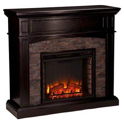 Greenwood Convertible Electric Fireplace Dark Brown/Black – Aiden Lane