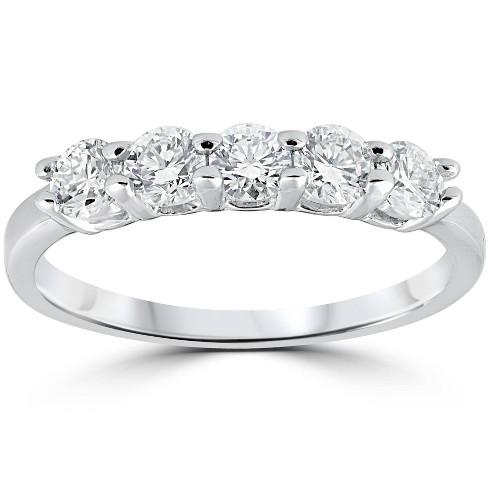 Pompeii3 1/2ct Five Stone Diamond Wedding Ring 14K White Gold - image 1 of 4