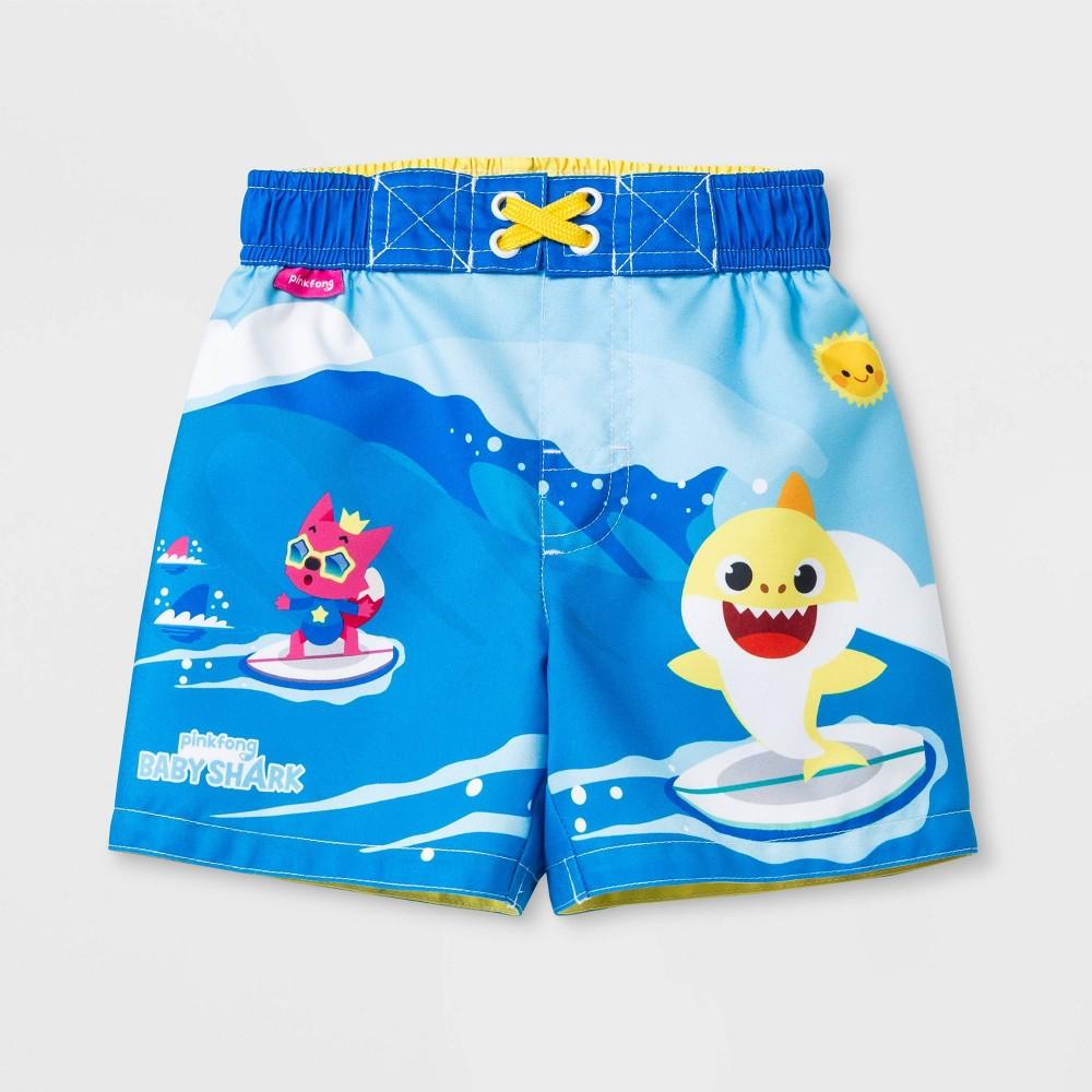 Baby Boys' Pinkfong Baby Shark Swim Trunks - Blue 18M