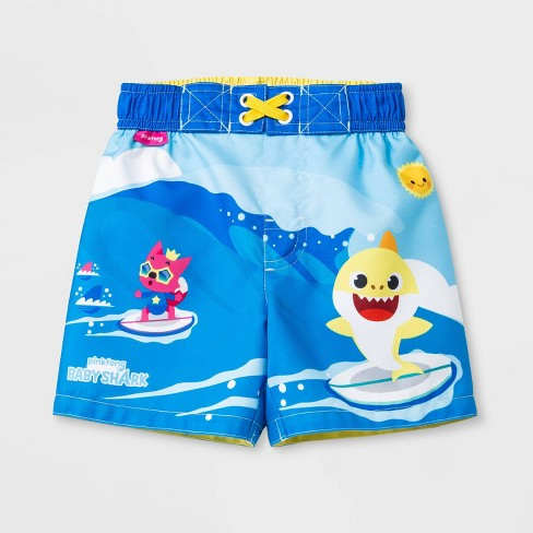 117c72756b931 Toddler Boys' Pinkfong Baby Shark Swim Trunks - Blue : Target