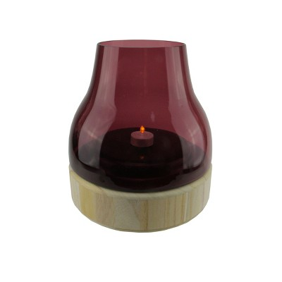 "Northlight 9.75"" Merlot Colored Glass Pillar Candle Holder with Wooden Base"