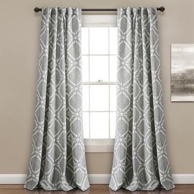 84  x 52  Kane Geo Room Darkening Window Curtain Panels Gray -Lush Decor