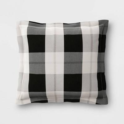 Woven Plaid Outdoor Pillow Back Cushion DuraSeason Fabric™ Black - Threshold™