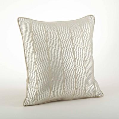 Down Filled Metallic Herringbone Design Pillow Silver - Saro Lifestyle