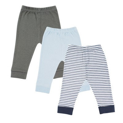 Luvable Friends Baby and Toddler Boy Cotton Pants 3pk, Navy Stripe
