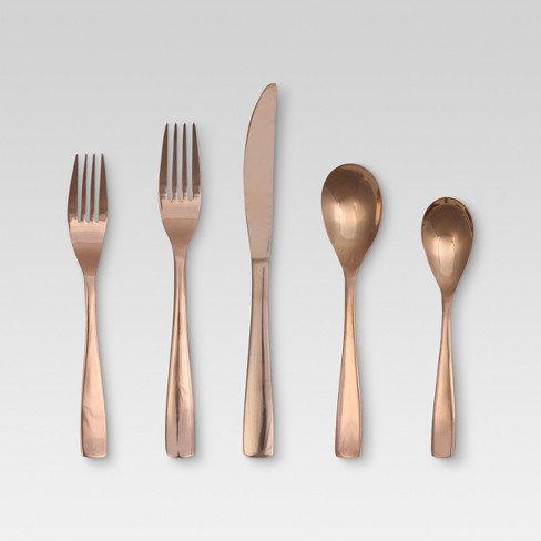 Vivian 5pc Silverware Set Rose Gold - Threshold™ - image 1 of 2