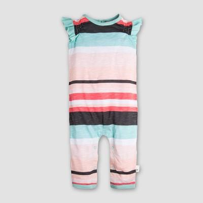 Burt's Bees Baby Girls' Organic Cotton Slub Jersey Desert Stripe Coverall - Coral/Mint 0-3M