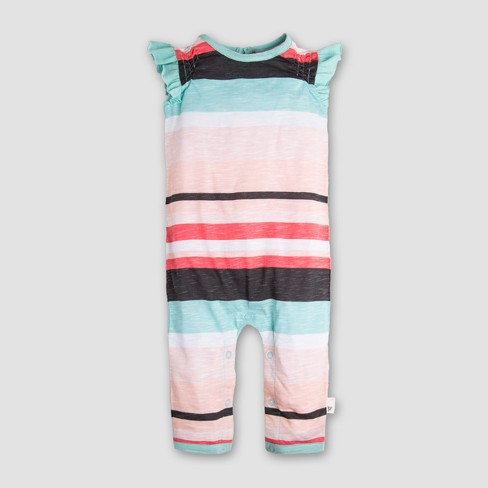 321acee79c0 Burt s Bees Baby Girls  Organic Cotton Slub Jersey Desert Stripe Coverall -  Coral Mint