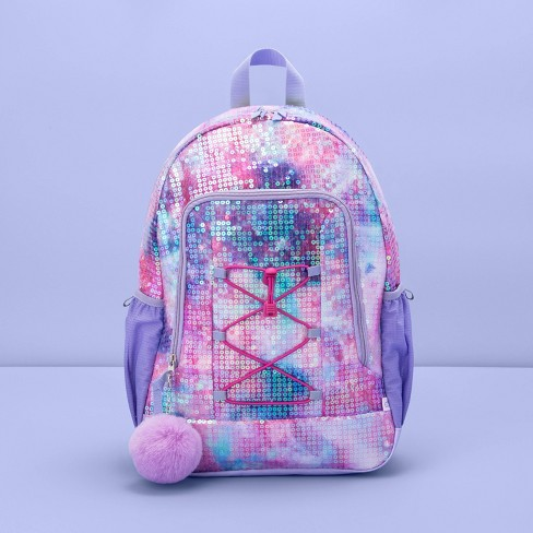 """16.5"""" Kids' Backpack Galaxy All Over Sequin - More Than Magic™ - image 1 of 2"""