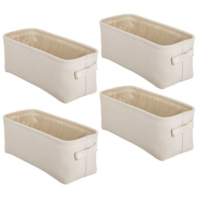 mDesign Cotton Fabric Bathroom Storage Organizer Bin, Tall, 4 Pack