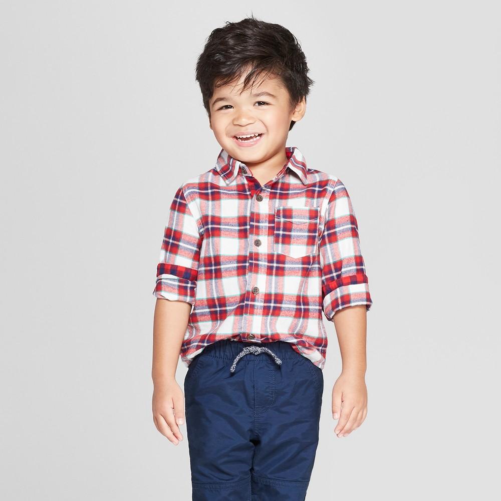 Toddler Boys' Long Sleeve Plaid Shirt - Cat & Jack Red 4T