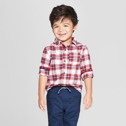 Toddler Boys' Long Sleeve Plaid Button-Down Shirt - Cat & Jack™ Red - image 1 of 3