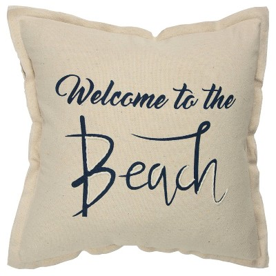 'Welcome To The Beach' Poly Filled Pillow Cream/Navy - Rizzy Home