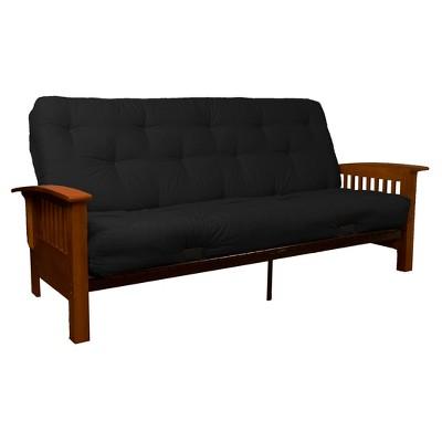 Craftsman 8  Inner Spring Futon Sofa Sleeper - Walnut Wood Finish - Twill Black Upholstery - Full - Sit N Sleep