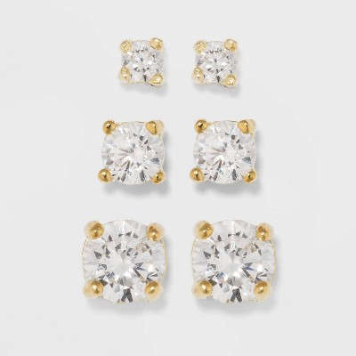 Gold Over Sterling Silver Cubic Zirconia Stud Fine Jewelry Earring Set 3pc - A New Day™ Gold/Clear