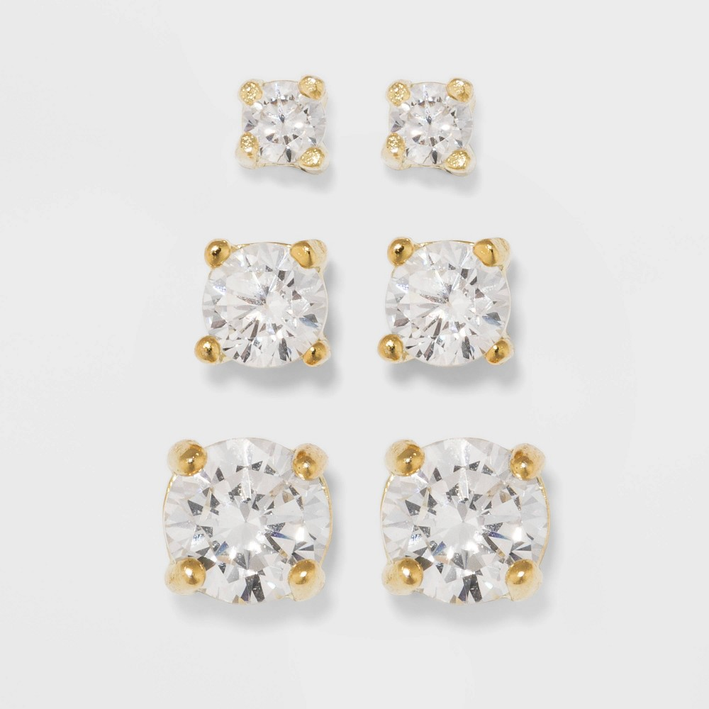 Gold Over Sterling Silver Cubic Zirconia Stud Fine Jewelry Earring Set - A New Day Gold/Clear