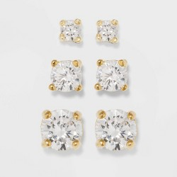 Gold Over Sterling Silver Cubic Zirconia Stud Fine Jewelry Earring Set - A New Day™ Gold/Clear