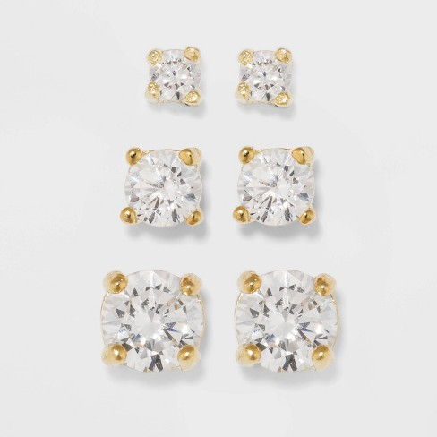 Gold Over Sterling Silver Cubic Zirconia Stud Fine Jewelry Earring Set 3pc - A New Day™ Gold/Clear - image 1 of 3