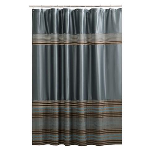 Mark Stripe Fabric Shower Curtain Blue