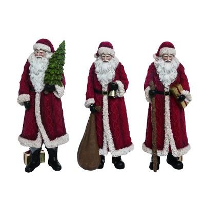 Transpac Resin 12 in. Red Christmas Sweater Santa  Set of 3