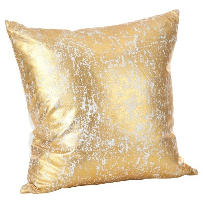 Gold Donnelou Metallic Foil Print Throw Pillow (18 )- Saro Lifestyle®