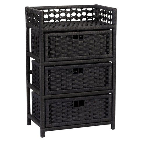 Household Essentials Paper Rope 3Drawer Storage Chest Black - image 1 of 4