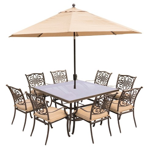 Traditions 11pc Square Metal Patio Dining Set w/ 11' Umbrella & Stand - Tan - Hanover - image 1 of 8