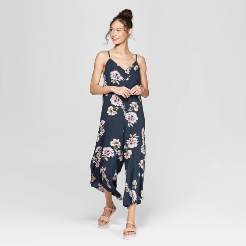 082005eb27aa Women s Floral Print Strappy V-Neck Waistless Cropped Jumpsuit - Xhilaration™  Navy