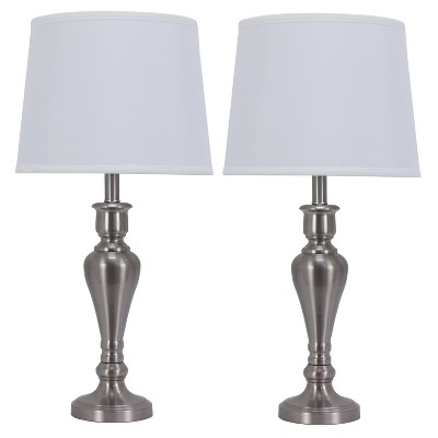 "26"" 2pc Brushed Touch Controllable Lamp Set Steel - Decor Therapy"