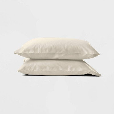 Standard 300 Thread Count Temperature Regulating Solid Pillowcase Set Natural - Casaluna™