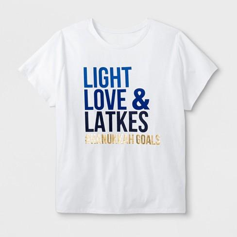 Women's Plus Size Short Sleeve Hanukkah 'Light, Love & Latkes' Baseball T-Shirt - White  4X - image 1 of 2
