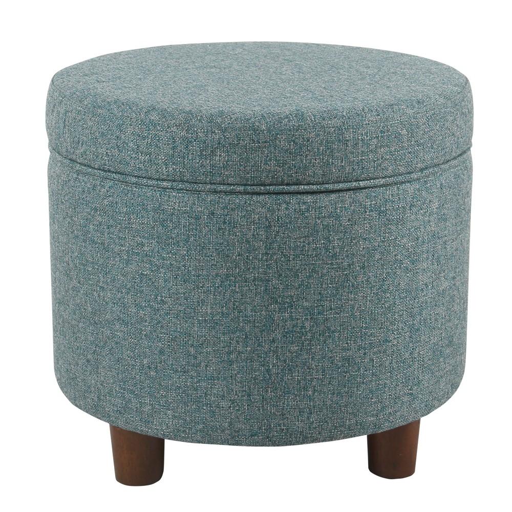 Round Storage Ottoman Teal Tweed - Homepop was $104.99 now $78.74 (25.0% off)