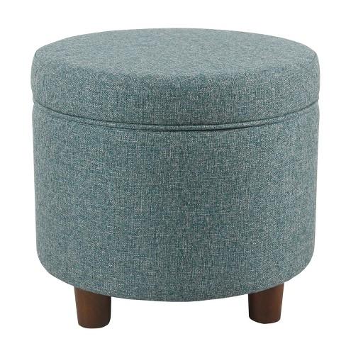 Wondrous Round Storage Ottoman Teal Tweed Homepop Machost Co Dining Chair Design Ideas Machostcouk