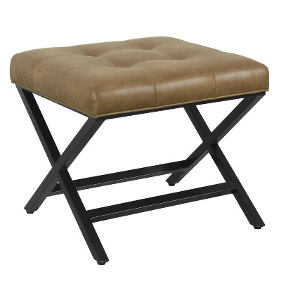 X-Design Bench Faux Leather Brown - HomePop