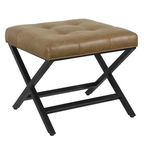 Pleasing X Design Bench Faux Leather Brown Homepop Beatyapartments Chair Design Images Beatyapartmentscom