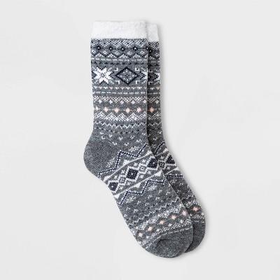 Women's Fair Isle Double Lined Cozy Crew Socks - A New Day™ Heather Gray 4-10