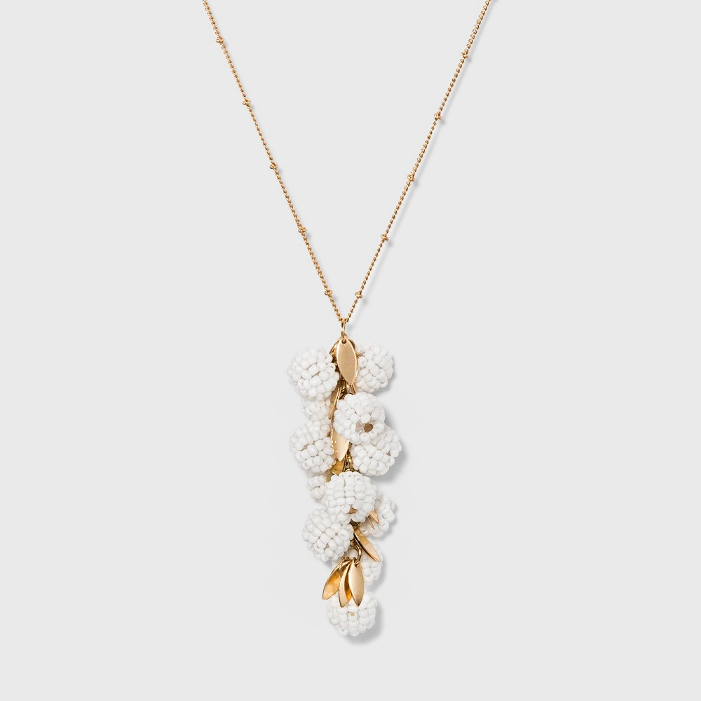 Clustered Beaded Bauble Balls Pendant Necklace - A New Day Gold/White